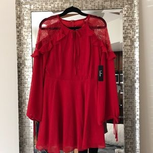 City of Love Red Lace Long Sleeve Skater Dress